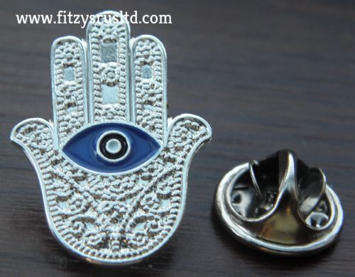 Hamsa Turkish Evil Eye Lapel Hat Cap Tie Pin Badge Hand of Fatima Brooch Charm